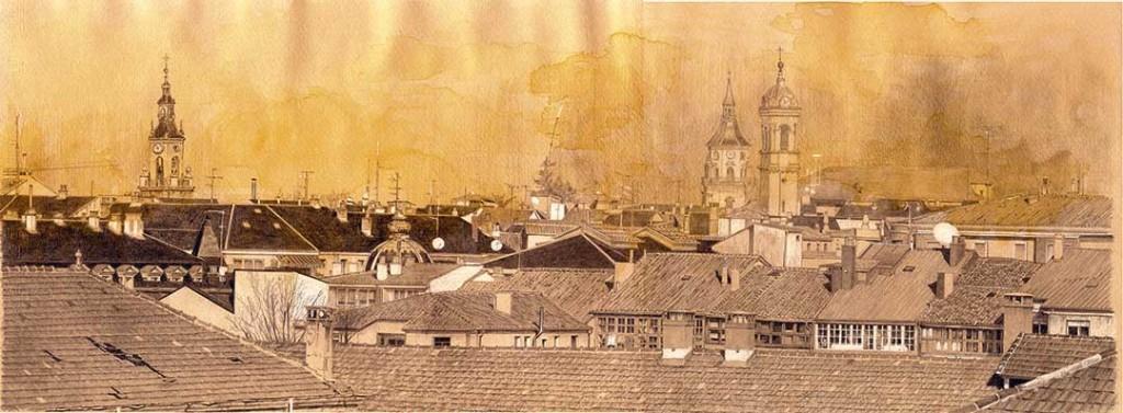 Lápiz Conté, grafito, aguada ocre y resalte con pastel blanco/ papel Canson gris-amarillo 20 x 50 cm by Luis Gómez Feliu