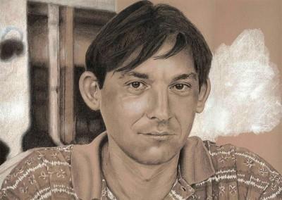 Lápiz Conté, grafito y resalte blanco/ papel Canson gris 35 x 47 cm by Luis Gómez Feliu